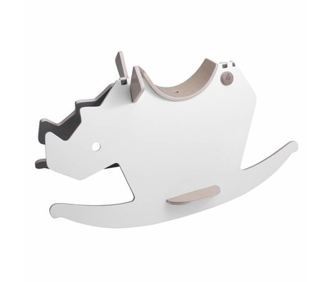 Sebra rocking horse rhinoceros rhino white gray wood 72x36x40cm