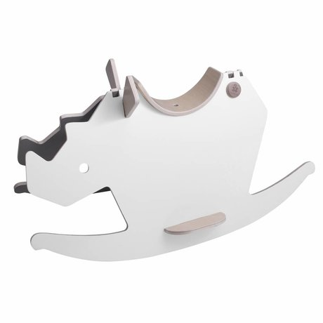Sebra cheval à bascule rhinocéros rhino blanc gris bois 72x36x40cm