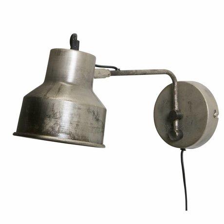 WOOOD Wandlamp Hector antiek zilver grijs metaal 13x14x35cm