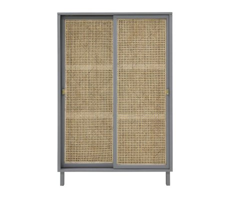 HK-living Cabinet cupboard sliding door Webbing gray brown wood 95x40x140cm