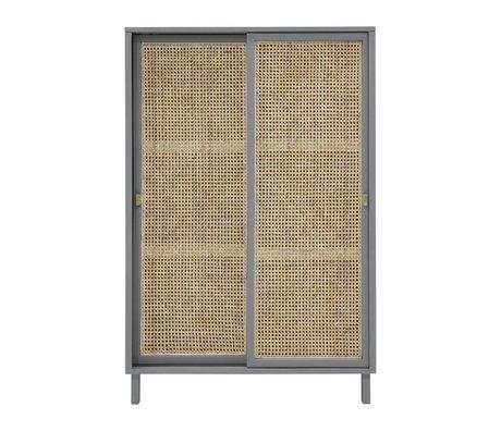 HK-living Schrank Schrank Schiebetür Webbing grau braun Holz 95x40x140cm