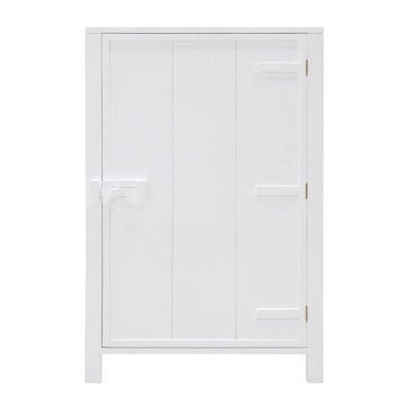 HK-living Schrankschrank mit einer Tür aus weißem Holz 81x36x122cm