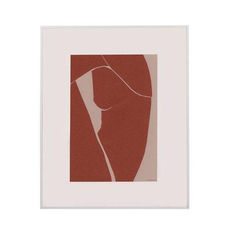 HK-living Kunstlijst Tiny Art terra wit papier metaal M 45x50x2cm