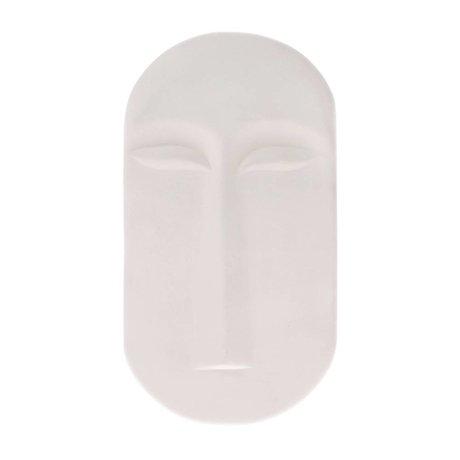 HK-living Masque mural ornement en faïence blanche mate 13x2x23,5cm