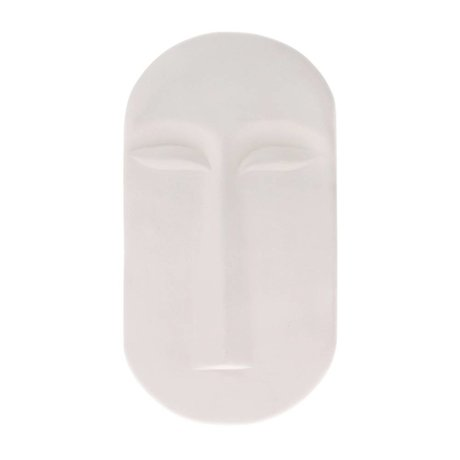 HK-living Ornament Mask Wall matt white earthenware 13x2x23,5cm