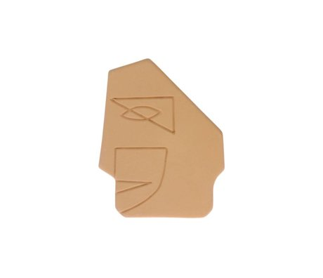 HK-living Ornament Face Wall senfgelb Steingut S 12,5x1x15cm