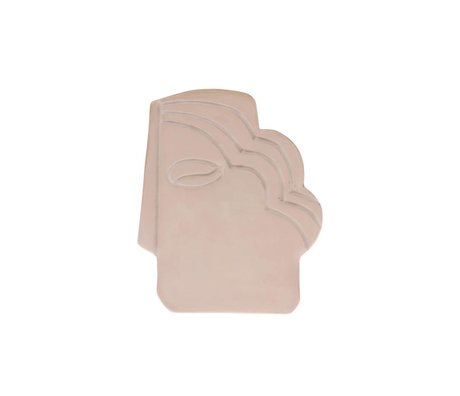 HK-living Ornament Face Wall shiny taupe pottery S 12,5x1x15,5cm