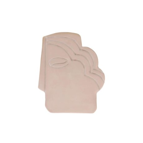 HK-living Ornament Face Wall shiny taupe aardewerk S 12,5x1x15,5cm