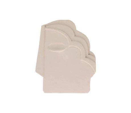 HK-living Ornament Face Wall matt cream white earthenware M 15x1x18.5cm