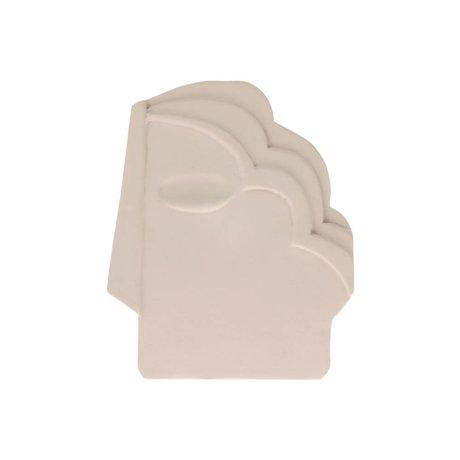 HK-living Ornament Face Wall mat crème wit aardewerk M 15x1x18,5cm