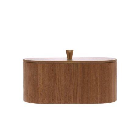 HK-living Storage box Willow brown wood 23x11x10cm