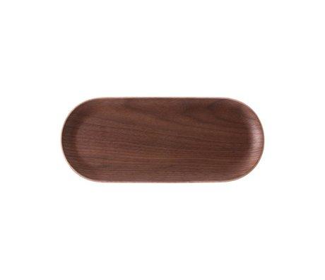 HK-living Tray Oval walnut brown wood 23x10x1.5cm