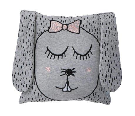 Ferm Living Throw Pillow / Plush Little Ms. Rabbit gray 30x30cm