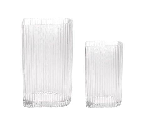 HK-living Vaas Ribbed transparant glas set van 2