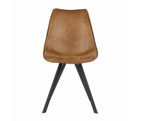 LEF collections Dining chair Swen cognac brown pu leather set of 2 50x61,5x84,5cm