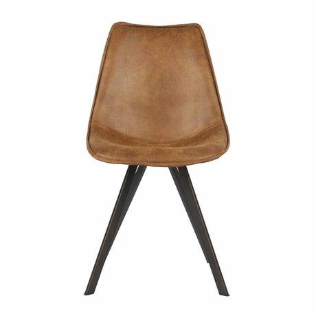 LEF collections Chaise de salle à manger Swen en cuir pu marron cognac lot de 2 50x61,5x84,5cm