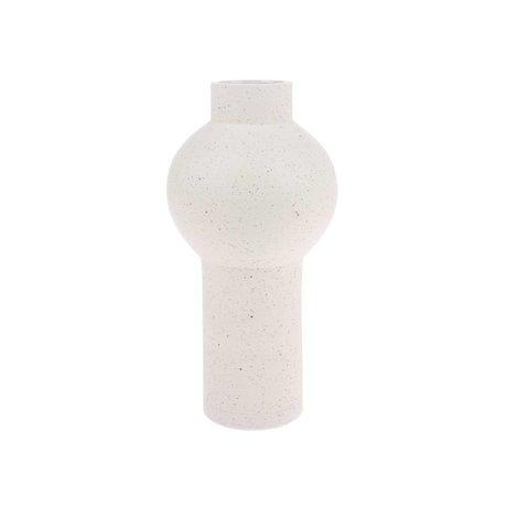 HK-living Vase Moucheté Rond Creme Céramique Blanche M Ø15x30,5cm