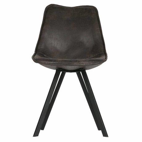 Lef collection Chaise de salle à manger Swen en cuir PU noir lot de 2 50x61,5x84,5cm