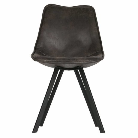 LEF collections Dining chair Swen black pu leather set of 2 50x61,5x84,5cm