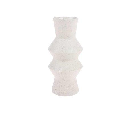 HK-living Vaas Speckled Angular crème wit keramiek M Ø13,5x29,5cm