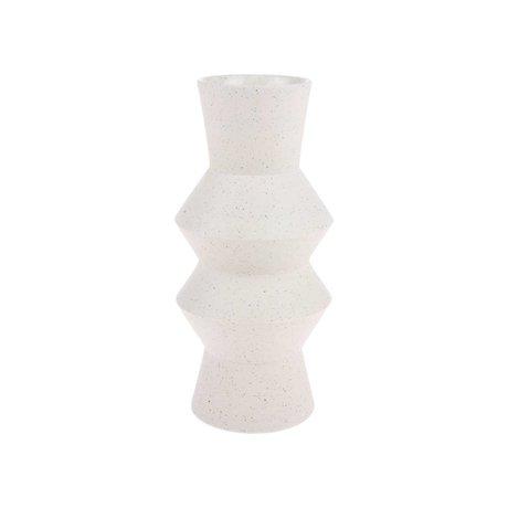 HK-living Vase Speckled Angular cream white ceramic M Ø13,5x29,5cm