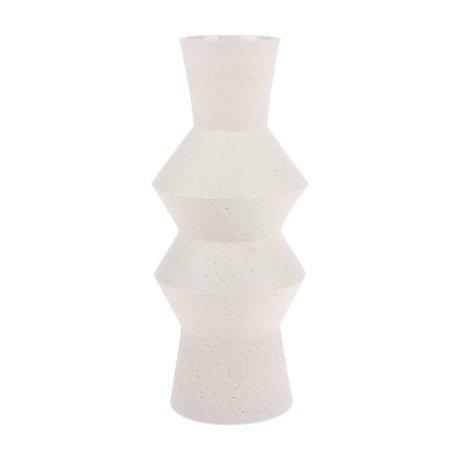 HK-living Vase gesprenkelt Eckige cremeweiße Keramik L Ø16,5x41cm
