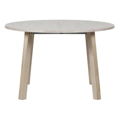 Lef collection Table à manger longue jan rond extensible en chêne brun naturel 120x120-160-200x75cm