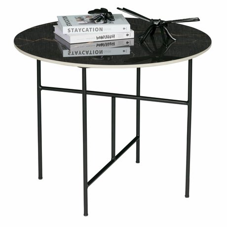 WOOOD Table d'appoint Vida marbre noir Ø60x48cm