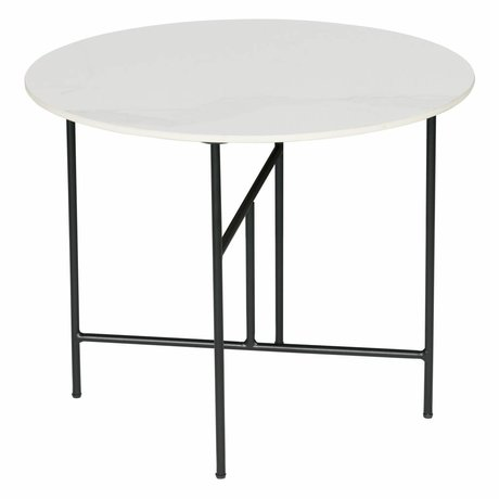 WOOOD Table d'appoint Vida marbre blanc Ø60x48cm