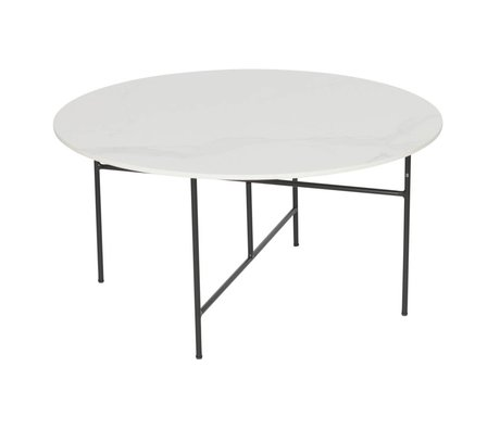 WOOOD Table d'appoint Vida en marbre blanc 80x40cm