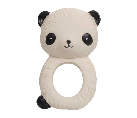 A Little Lovely Company Bijtring Panda natuurlijk rubber 6,3x4x10cm