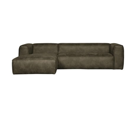 LEF collections Corner sofa Bean longchair left army green leather 305x73x96 / 175cm