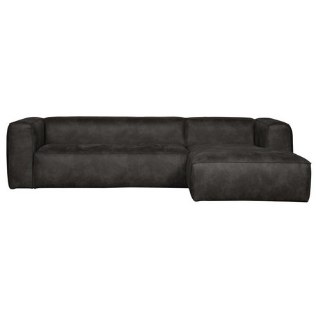 LEF collections Corner sofa Bean longchair right black leather 305x73x96 / 175cm