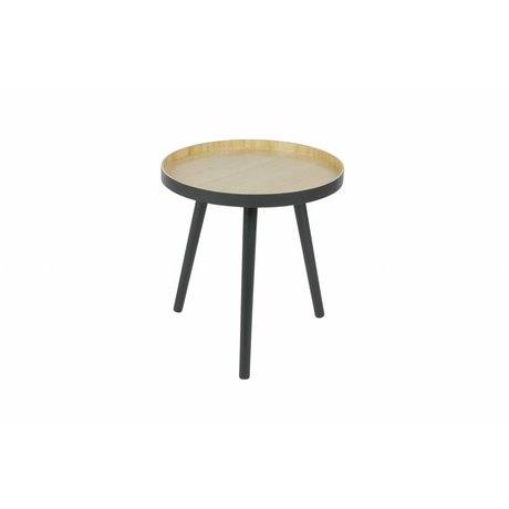 LEF collections Sasha Side Table en bois anthracite ø41x41cm