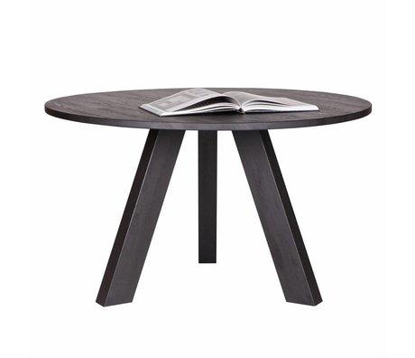 LEF collections Table à manger Rhonda blacknight black oak Ø129x77cm