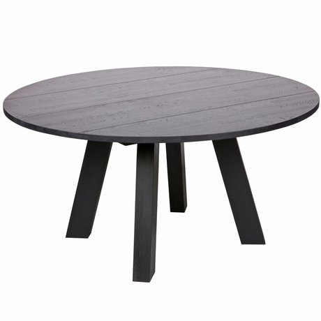 LEF collections Table à manger Rhonda XL blacknight black oak Ø150x75cm