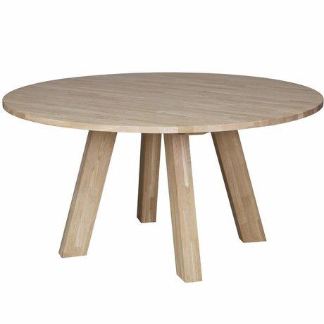 LEF collections Table à manger Rhonda XL chêne brun naturel Ø150x75cm