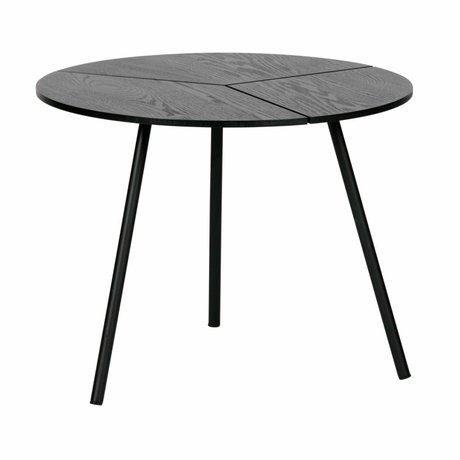 WOOOD Side table Rodi M black wood metal ø48x38cm
