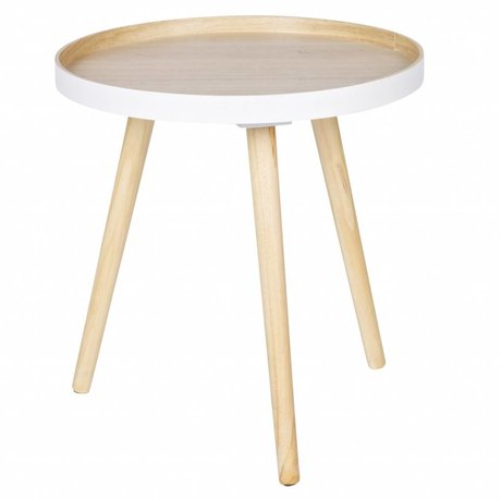 LEF collections Side table Sasha white natural brown wood 41x40,5x41cm