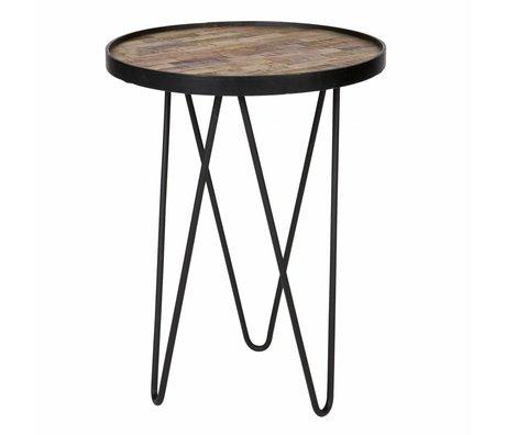 LEF collections Table d'appoint Lev bois brun métal ø39x52cm