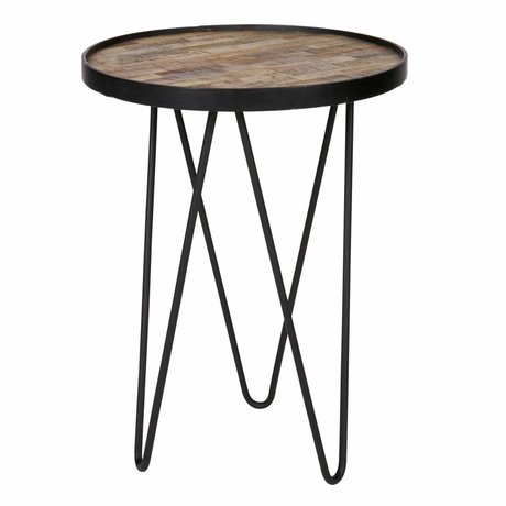 LEF collections Side table Lev brown wood metal ø39x52cm