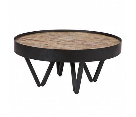 LEF collections Bijzettafel Dax bruin zwart hout metaal Ø74x34cm