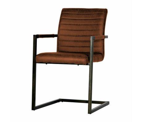 LEF collections Chaise de salle à manger Bas cuir marron cognac 54x62x87cm
