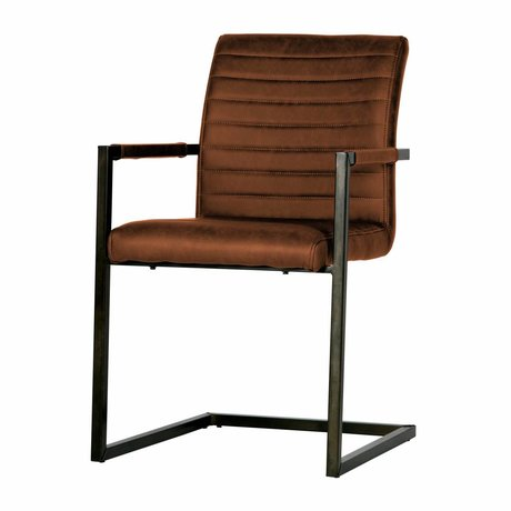 LEF collections Dining chair Bas cognac brown pu leather 54x62x87cm