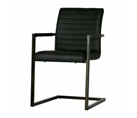 LEF collections Chaise de table Bas en cuir gris anthracite 54x62x87cm
