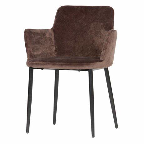 WOOOD Chaise de table Tatum velours taupe foncé 61x59x81cm