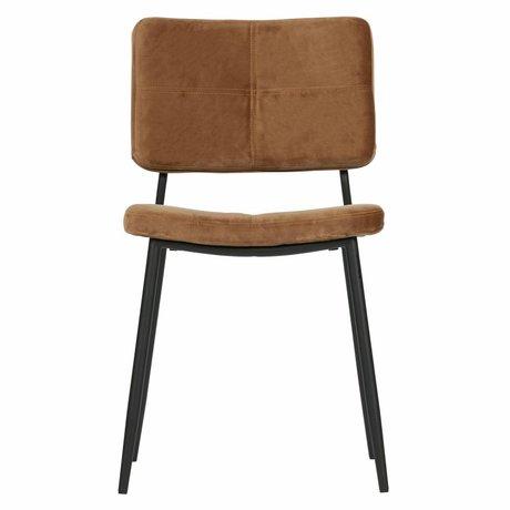 WOOOD Chaise de salle à manger Kaat velours brun caramel set de 2 56x44x81cm