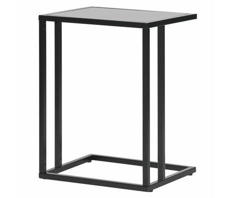 LEF collections Table d'appoint Jasmin en forme de U noir métal 45x35x60cm