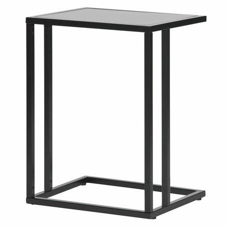 LEF collections Bijzettafel Jasmin u-vorm zwart metaal 45x35x60cm