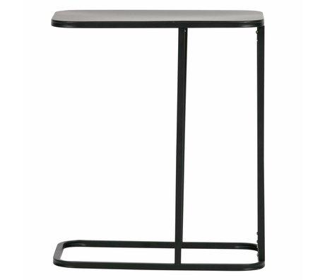 LEF collections Bijzettafel Roya u-vorm zwart metaal 50x30x58cm
